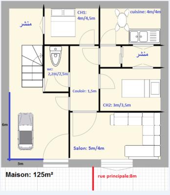 منزل للبيع 125م² بالمنيهلة العليا أريانة