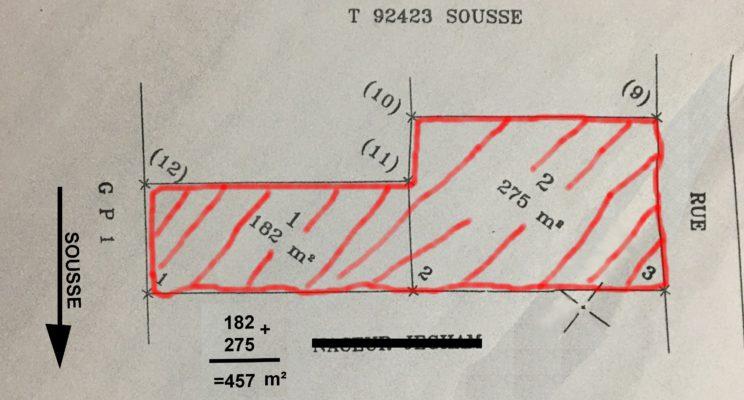 Terrain commercial immatriculé Hammam sousse GP1.