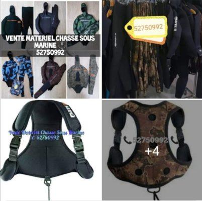 Combinaison et matériel chasse sous marine