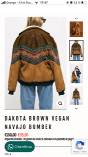 VESTE 'DAKOTA BROWN VEGAN NAVAJO BOMBER' d'origine germany